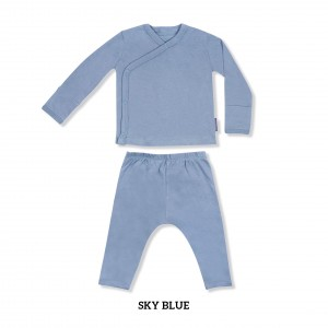 SKY BLUE Baby Kimono Long Sleeve Set