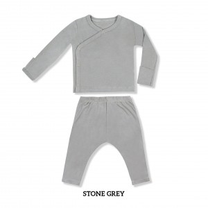 STONE GREY Baby Kimono Long Sleeve Set
