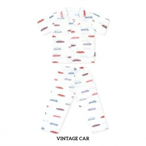 VINTAGE CAR Printed Pajamas Short Sleeve Set