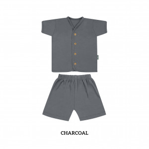 CHARCOAL Button Tee Short Sleeve