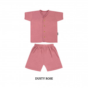 DUSTY ROSE Button Tee Short Sleeve