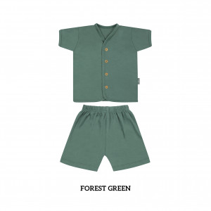 FOREST GREEN Button Tee Short Sleeve