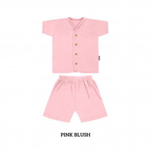 PINK BLUSH Button Tee Short Sleeve