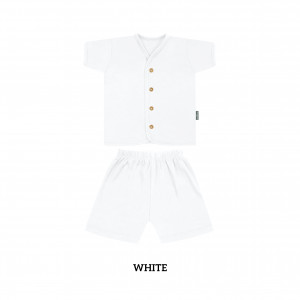 WHITE Button Tee Short Sleeve