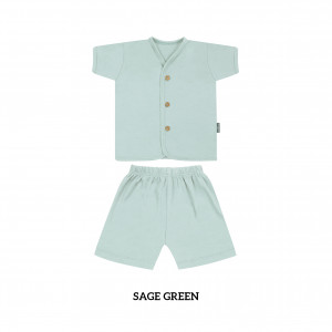 SAGE GREEN Button Tee Short Sleeve