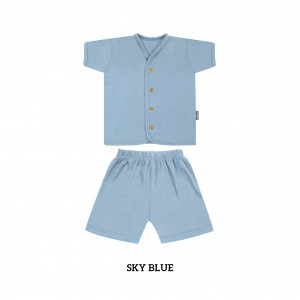 SKY BLUE Button Tee Short Sleeve