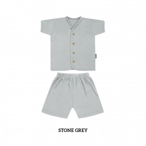 STONE GREY Button Tee Short Sleeve