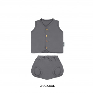 CHARCOAL Button Tee Sleeveless