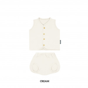 CREAM Button Tee Sleeveless