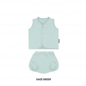 SAGE GREEN Button Tee Sleeveless