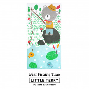 BEAR FISHING TIME LITTLE TERRY TOWEL