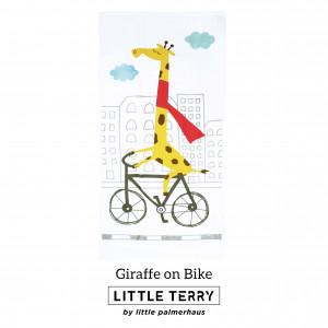 GIRAFFE ON BIKE LITTLE TERRY TOWEL