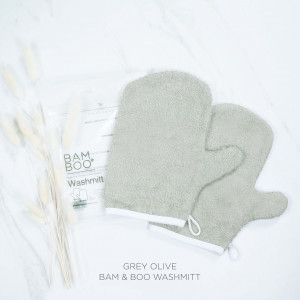 Bam & Boo Bamboo Washmitt Set Of 2 Grey Olive