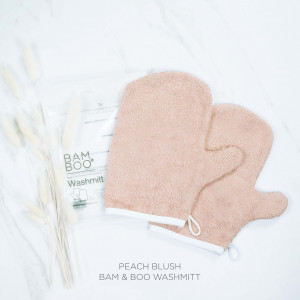 Bam & Boo Bamboo Washmitt Set Of 2 Peach Blush