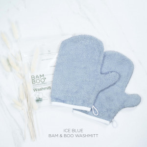 Bam & Boo Bamboo Washmitt Set Of 2 Ice Blue