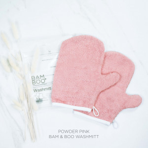 Bam & Boo Bamboo Washmitt Set Of 2 Powder Pink