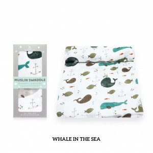 Whale In The Sea Muslin Swaddle