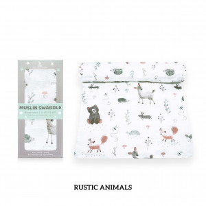 Rustic Animals Muslin Swaddle