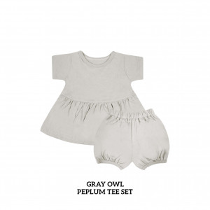 GRAY OWL Peplum Set