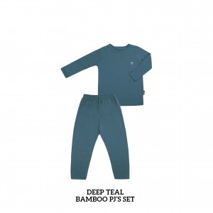 DEEP TEAL Bamboo Pjs Set
