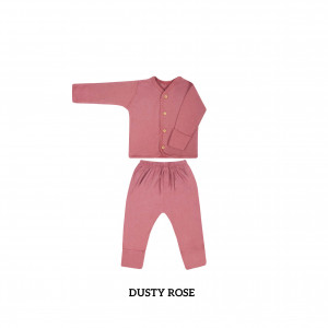 DUSTY ROSE Button Tee Long Sleeve