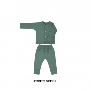 FOREST GREEN Button Tee Long Sleeve