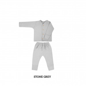 STONE GREY Button Tee Long Sleeve